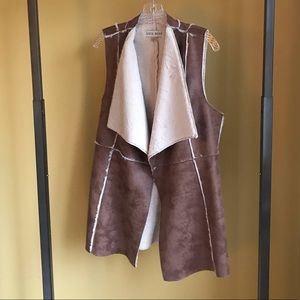 Knox Rose Faux Leather and Shearling Vest